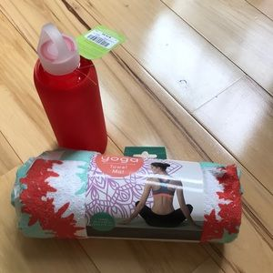 Yoga towel with matching glass water bottle.  NWT